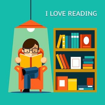 Eu amo ler. homem se senta em uma cadeira e lê seu livro favorito ao lado da estante. ilustração vetorial