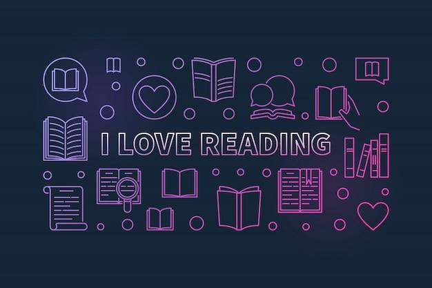 Eu amo ler o contorno colorido