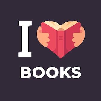 Eu amo livros ilustração.