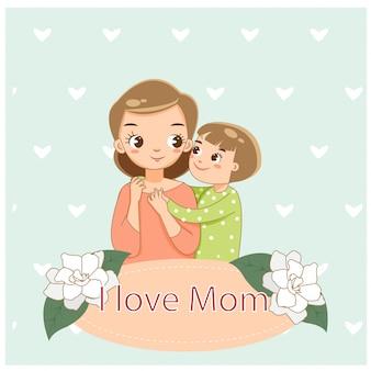 Eu amo mamãe, cartão do dia das mães