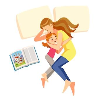 Eu amo mamãe. mãe colocou a filha para dormir Vetor Premium
