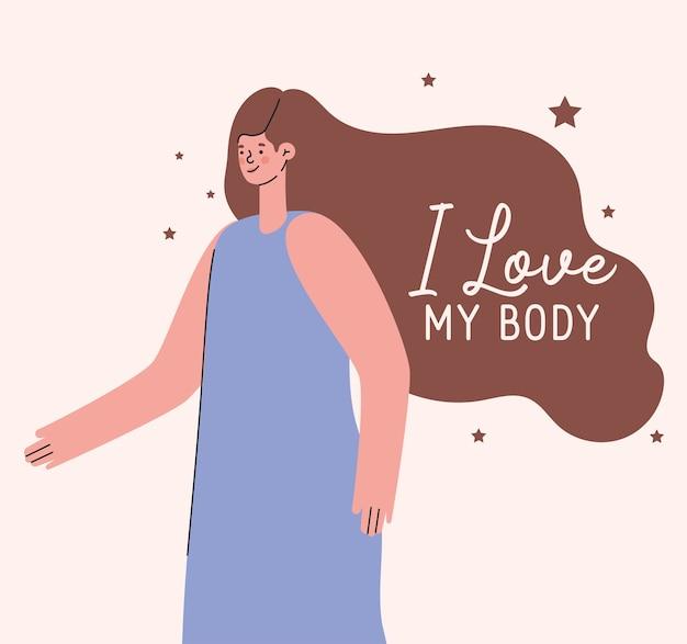 Eu amo meu corpo com design de desenho animado de mulher, tema cuidar de si mesmo