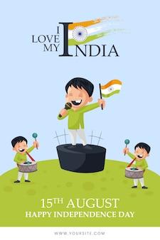 Eu amo meu menino indiano cantando desejos do dia da independência tempate
