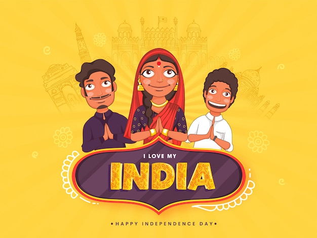 Eu amo meu texto índia no quadro vintage com família indiana fazendo namaste no fundo amarelo, esboçando monumentos famosos para o dia da independência.