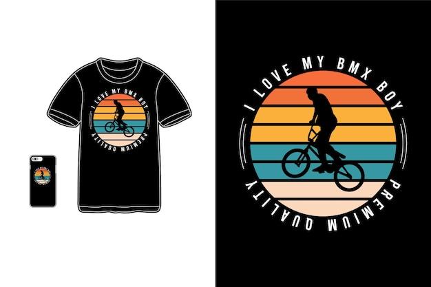 Eu amo minha silhueta de mercadoria de camiseta bmx boy
