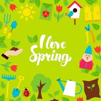 Eu amo o cartão postal da rotulação da primavera. ilustração em vetor de cartaz de jardim de natureza de estilo simples.