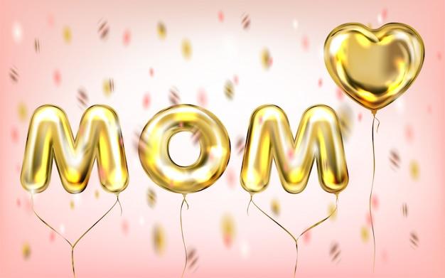 Eu amo o cartaz da mamã por balões brilhantes da folha