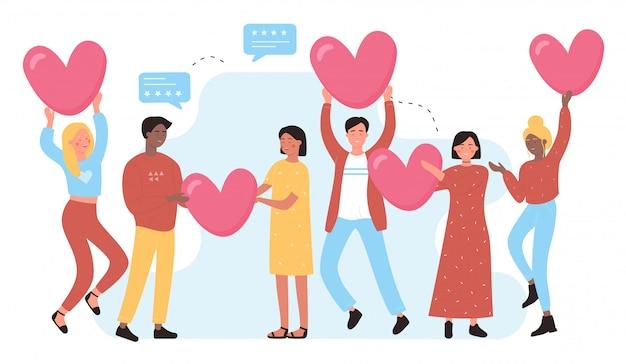 Eu amo o conceito de mídia social com pessoas e corações. eu gosto de personagem plana