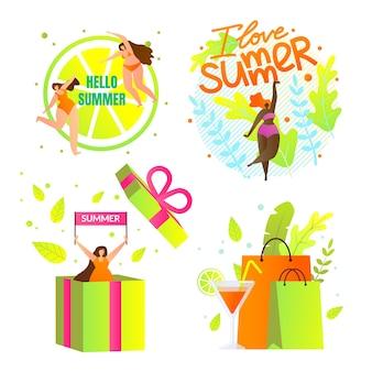 Eu amo o conjunto de ícones de verão com letras. horário de verão