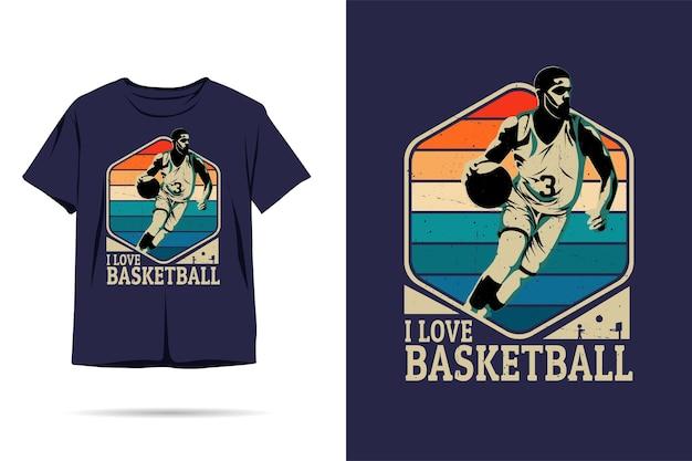 Eu amo o design de camisetas de silhueta de basquete