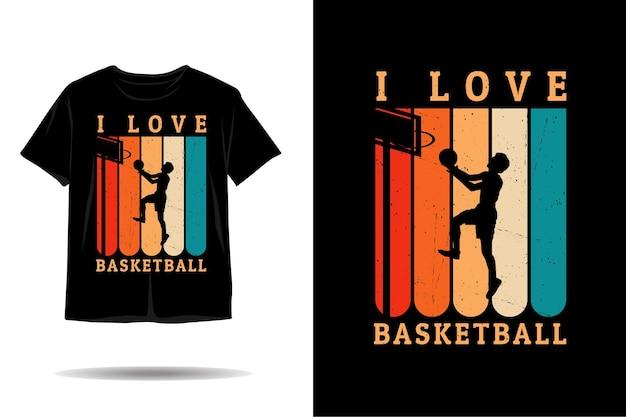 Eu amo o design de camisetas de silhueta de basquete Vetor Premium