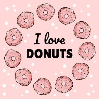 Eu amo o molde quadrado dos donuts cartão saboroso