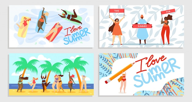 Eu amo o verão, tempo para o conjunto de banner de verão