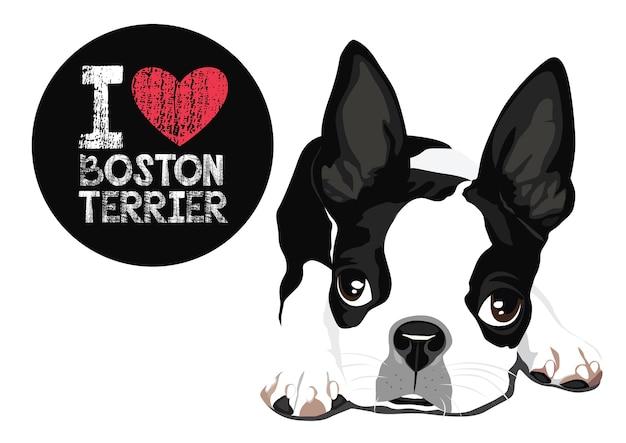 Eu amo o vetor de boston terrier