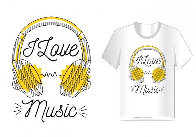 Eu amo o vetor de música para design de camisa de t
