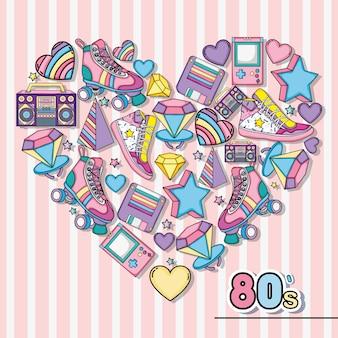 Eu amo os desenhos animados de pop art dos anos 80