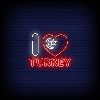Eu amo texto de estilo de sinais de néon de turquia