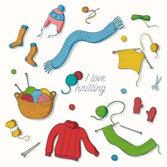 Eu amo tricô coleção de ilustrações desenhadas a mão