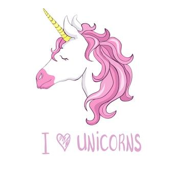Eu amo unicórnios. cabeça de unicórnio fofo. personagem mágica com juba rosa