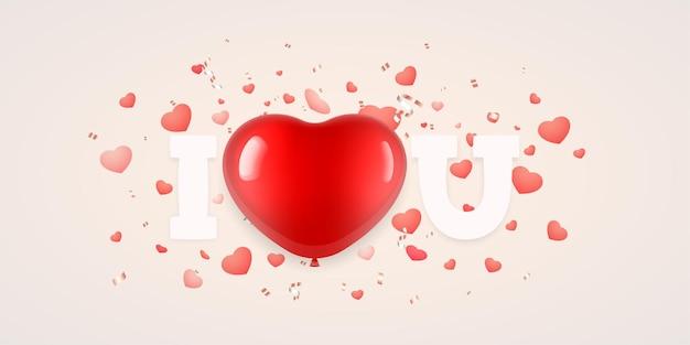 Eu amo você letras com balão em forma de coração para o dia dos namorados