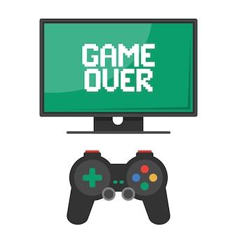 Eu console. controle por joystick com monitor. game over inscrição. ilustração vetorial plana