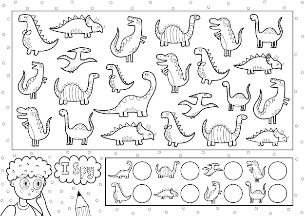 Eu espio a página para colorir do jogo para crianças encontre e conte dinossauros bonitos pesquise o mesmo objeto quebra-cabeça preto e branco quantos elementos existem