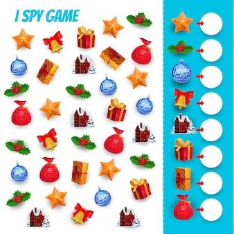 Eu espio jogo de quebra-cabeça de contagem de presentes de natal