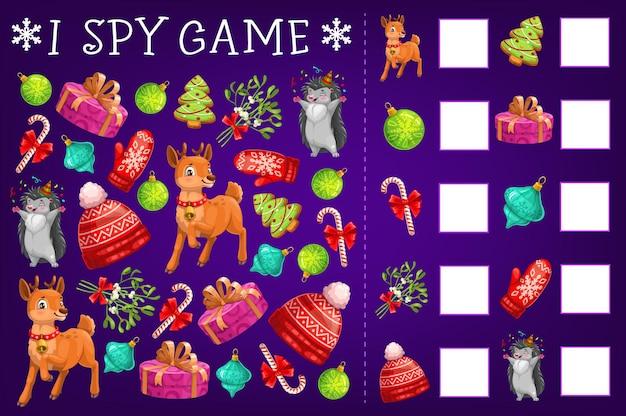 Eu espio jogo, quebra-cabeça educacional com presentes de natal