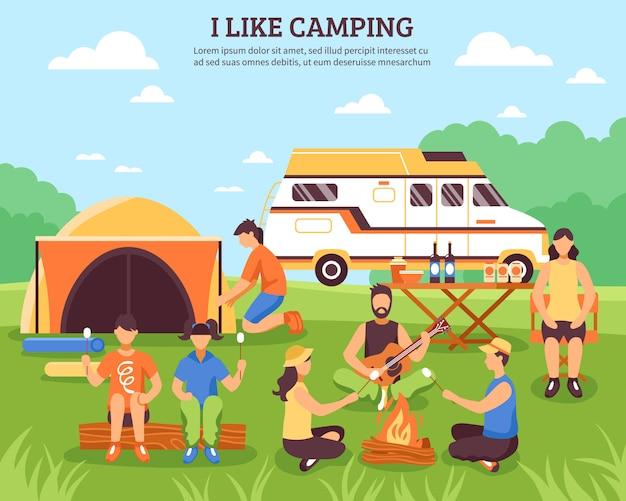 Eu gosto de composição de acampamento
