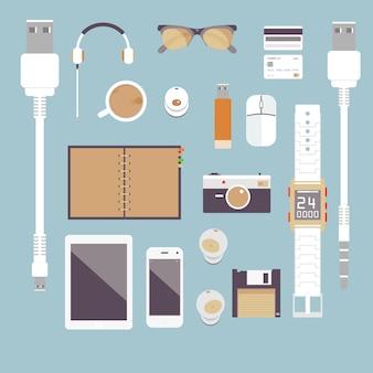 Eu gosto de gadgets. conjunto de vetores negócios planos