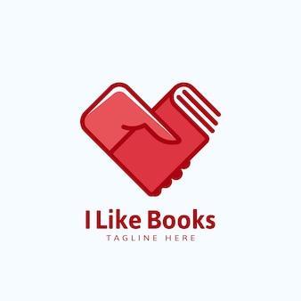Eu gosto de livros, emblema ou modelo de logotipo. mão segurando um livro em forma de coração.