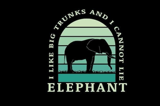 Eu gosto de troncos grandes, não posso mentir elefante cor verde gradiente
