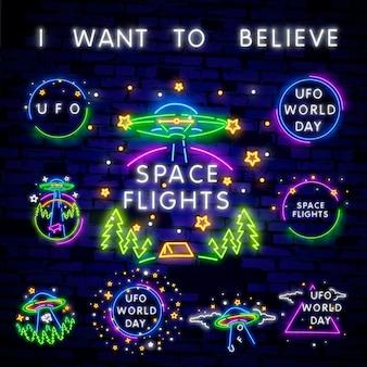 Eu quero acreditar. dia mundial da ovni. coleção de sinais de néon do espaço