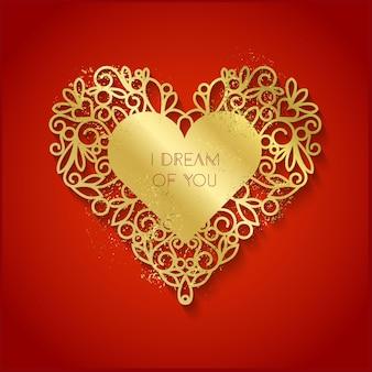 Eu sonho com você, texto em fundo de silhueta em forma de coração dourado