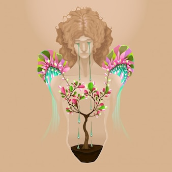 Eu sou bonita vector ilustração conceptual
