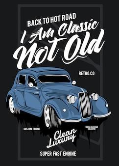 Eu sou clássico, não velho, ilustração de um carro de corrida clássico