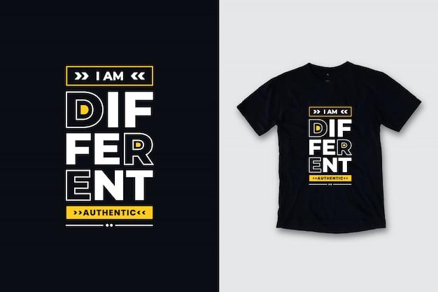 Eu sou design moderno diferente da camisa das citações t
