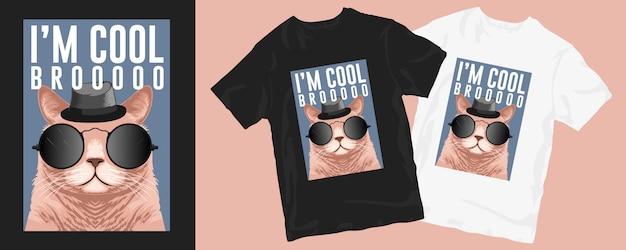 Eu sou legal mano, gato fofo design de camiseta engraçada