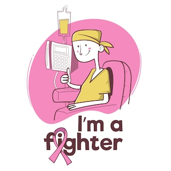 Eu sou um lutador. conscientização do câncer de mama