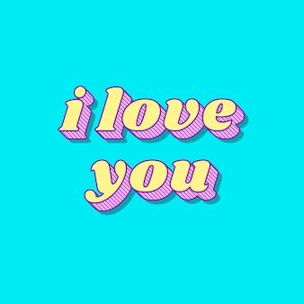 Eu te amo caligrafia funky ousada