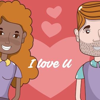Eu te amo cartão com desenhos de casal bonito e engraçado