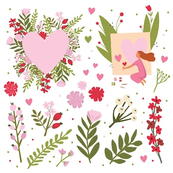 Eu te amo - cartão de feliz dia dos namorados conceito em vetor. bonito salvar o convite de data em vetor. gatos engraçados e um coração estiloso feito de flores de papoula