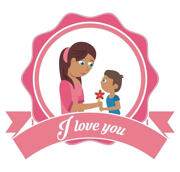 Eu te amo cartão de mãe