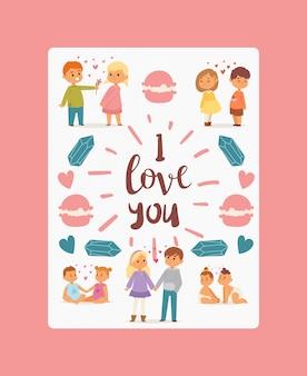 Eu te amo cartaz, casais de crianças de diferentes idades apaixonadas por corações entre eles. menino pequeno, apresentando flores para menina.