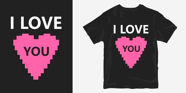 Eu te amo com design de t-shirt de símbolo de coração sobre romântico
