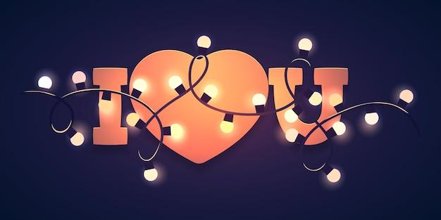 Eu te amo com formato de coração e luzes