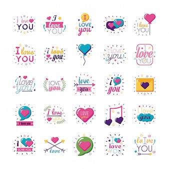 Eu te amo conjunto de ícones de estilo simples de textos