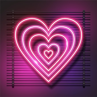 Eu te amo desenho de coração de néon