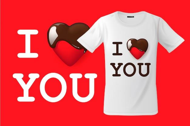 Eu te amo, design de t-shirt, uso de impressão moderna para camisolas, lembranças e outros usos, ilustração.