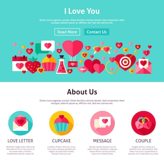 Eu te amo design do site. ilustração em vetor estilo simples para web banner e página inicial. feliz dia dos namorados feriado.